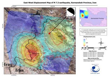 تصاویر ماهواره ای نشان داد: روستای «قلمه ذهاب» شاهد بیشترین میزان جابجایی پوسته زمین در زلزله اخیر